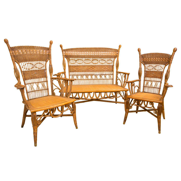 Antique victorian wicker parlor set for sale at 1stdibs - Victorian living room set for sale ...