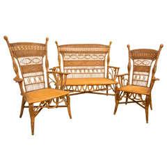 Antique Victorian Wicker Parlor Set