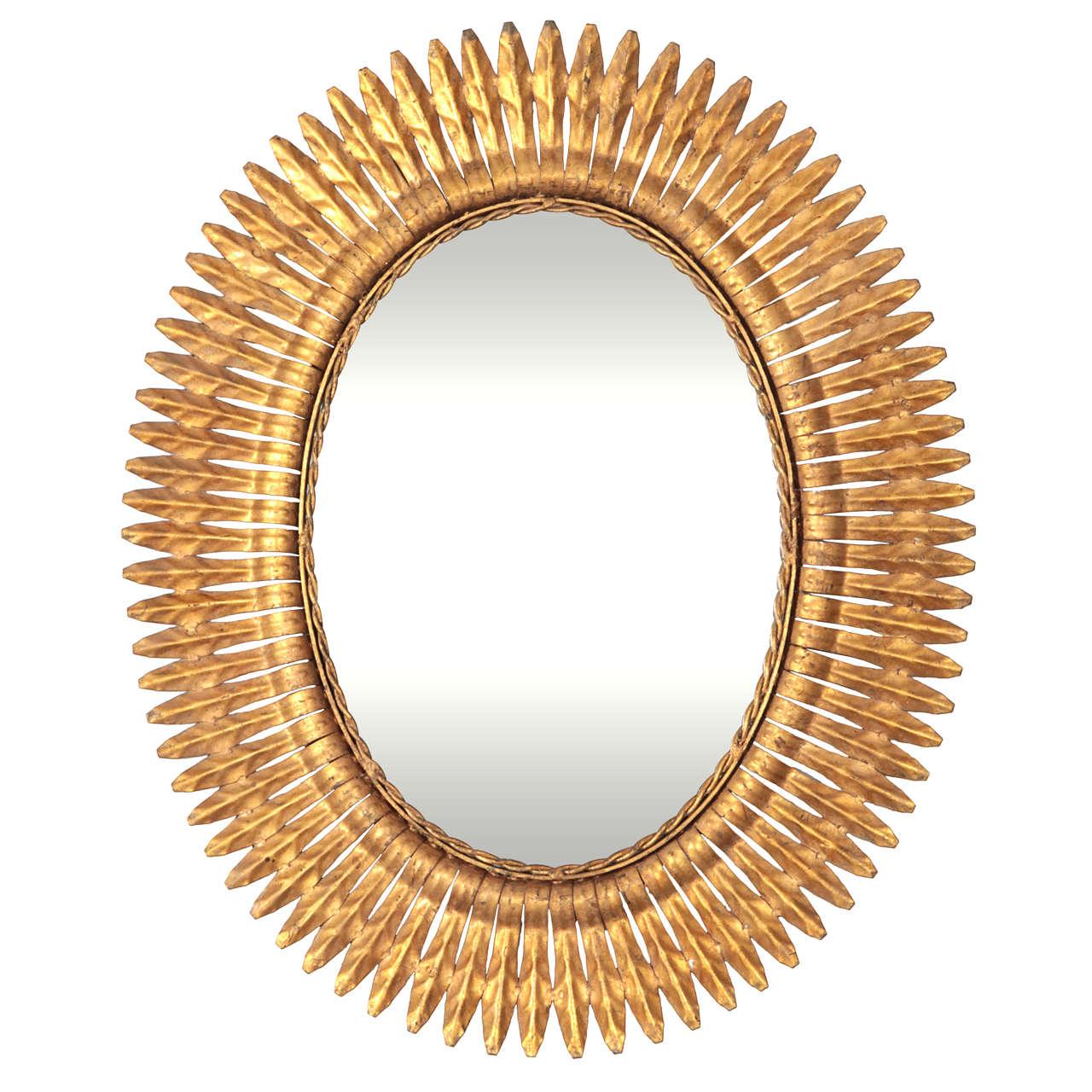 Oval Sunburst Mirror At 1stdibs