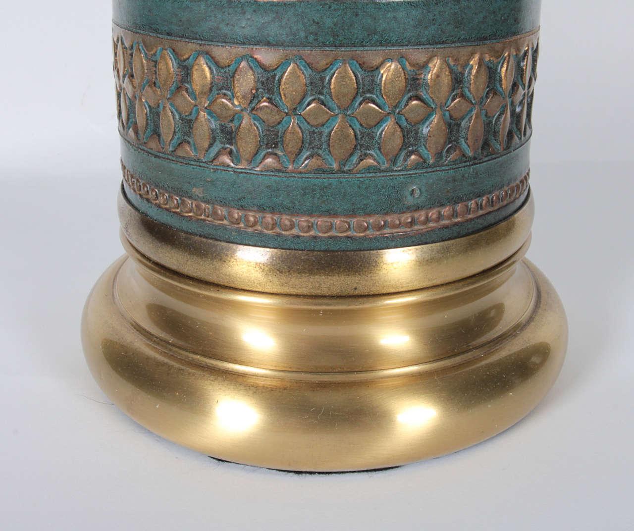 Mid-Century Modern Marbro Jade Green Ceramic Lamps For Sale