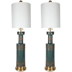 Marbro Jade Green Ceramic Lamps