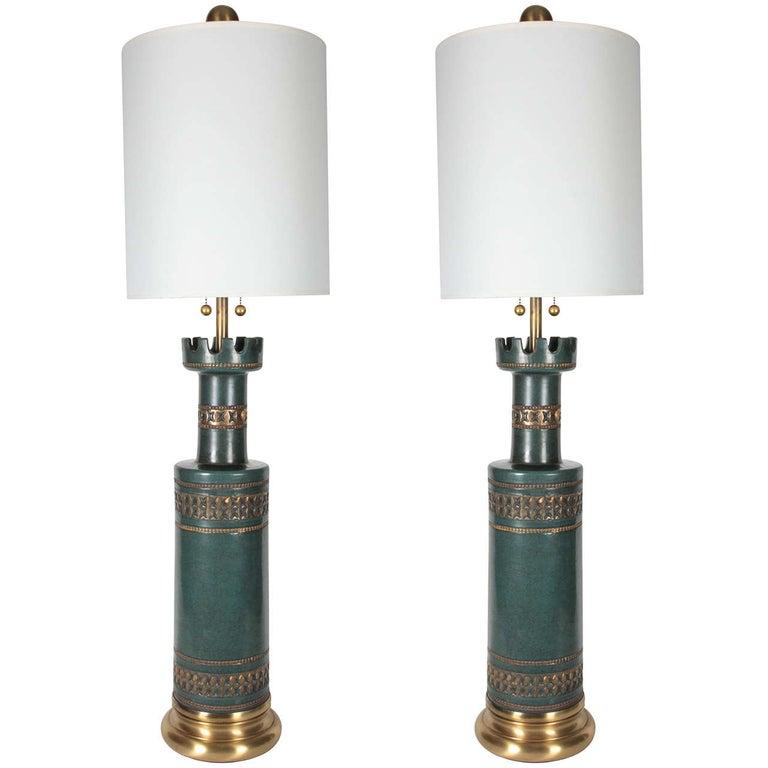 Marbro Jade Green Ceramic Lamps For Sale