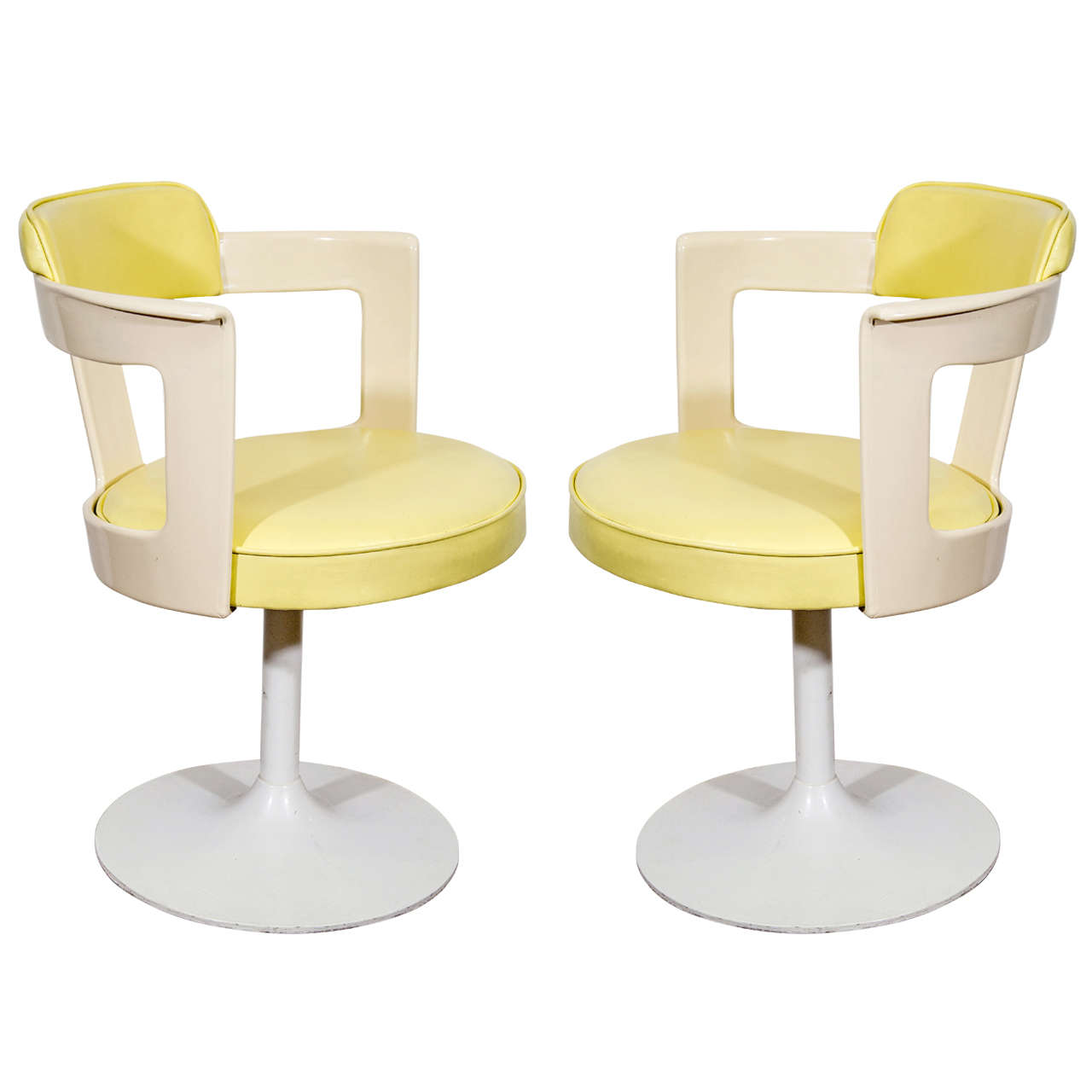 Pair Of Daystrom Tulip Chairs In White And Yellow For Sale
