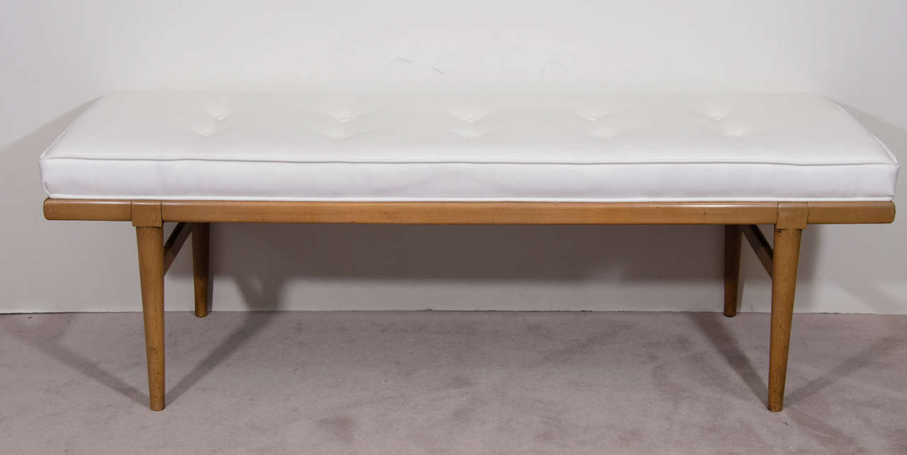 mid century tufted leather bench by th robsjohngibbings for  - mid century tufted leather bench by th robsjohngibbings for widdicomb