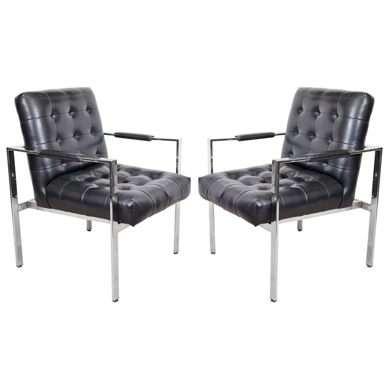 Pair Of Mid Century Tufted Black Vinyl Chairs By Milo