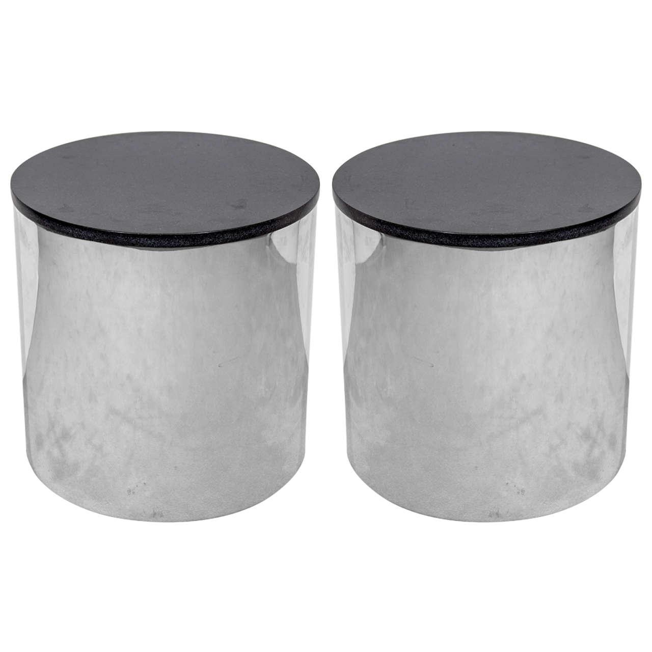 pair of mid century chrome and granite drum tables at stdibs - pair of mid century chrome and granite drum tables