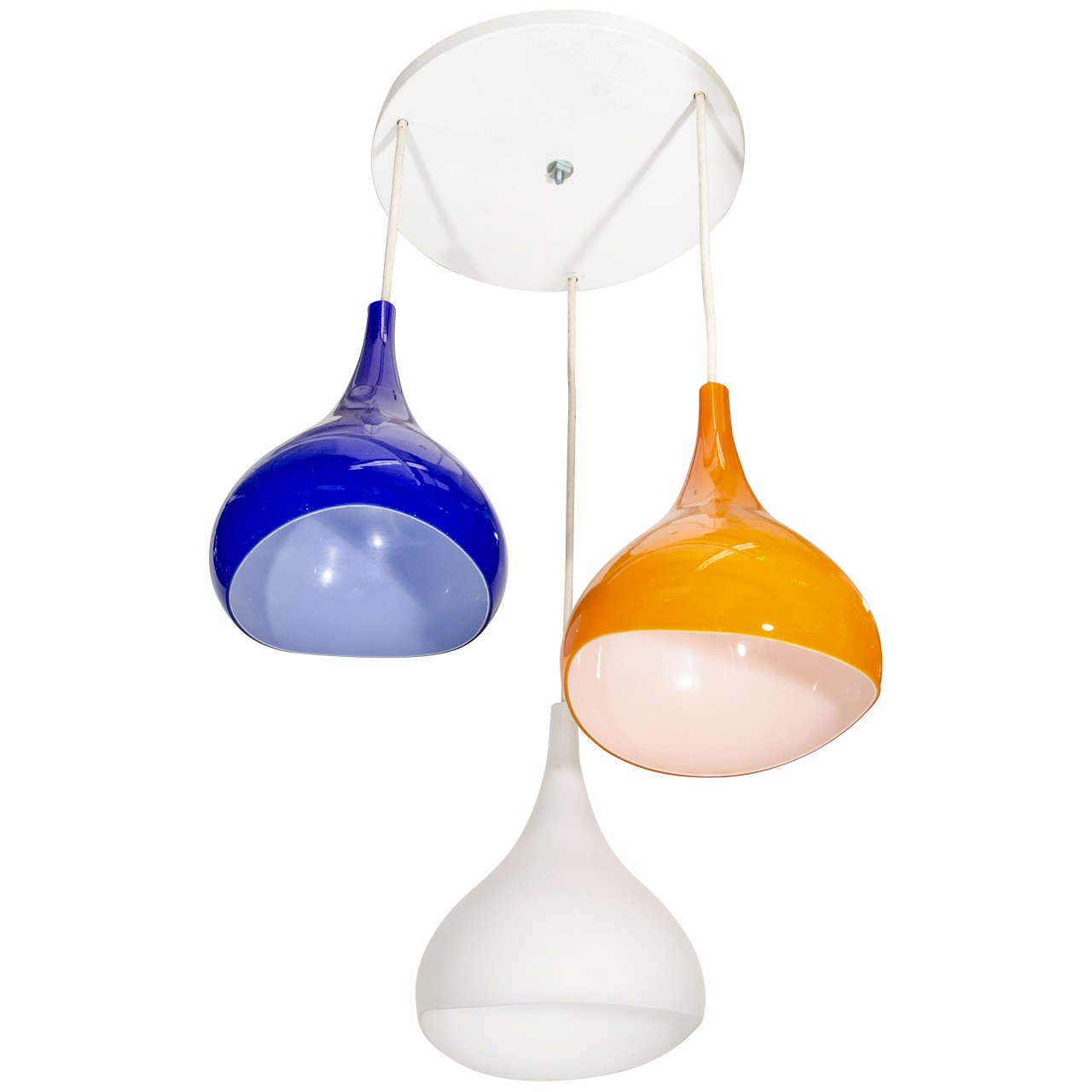 Mid century tri colored pendant light with glass shades for Pendulum light globes