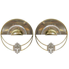 Pair of Chrome Demilune Sconces with Brass and Lucite Details