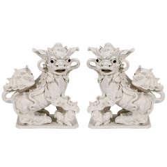 Pair of Large Vintage Chinese Ceramic Foo Dogs