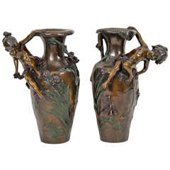 Pair of Antique French Bronze Cherub Vases by Auguste Moreau