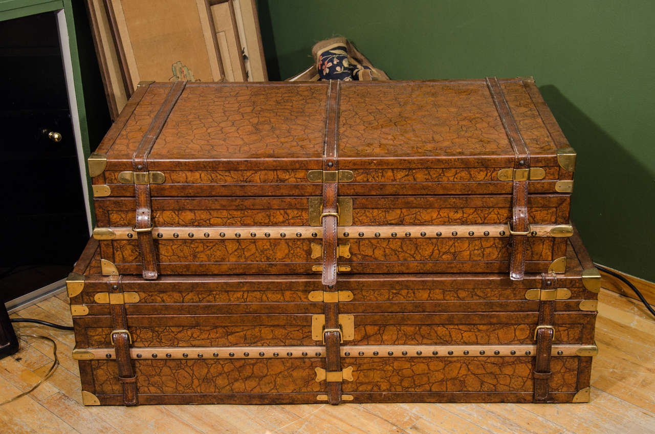 Pair Of Vintage Trunks By Maitland Smith At 1stdibs