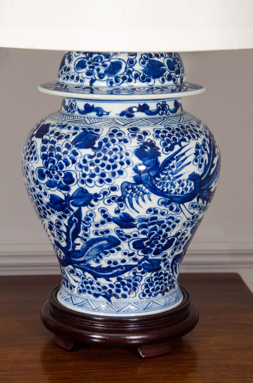 Pair Of Blue And White Chinese Temple Jar Lamps At 1stdibs