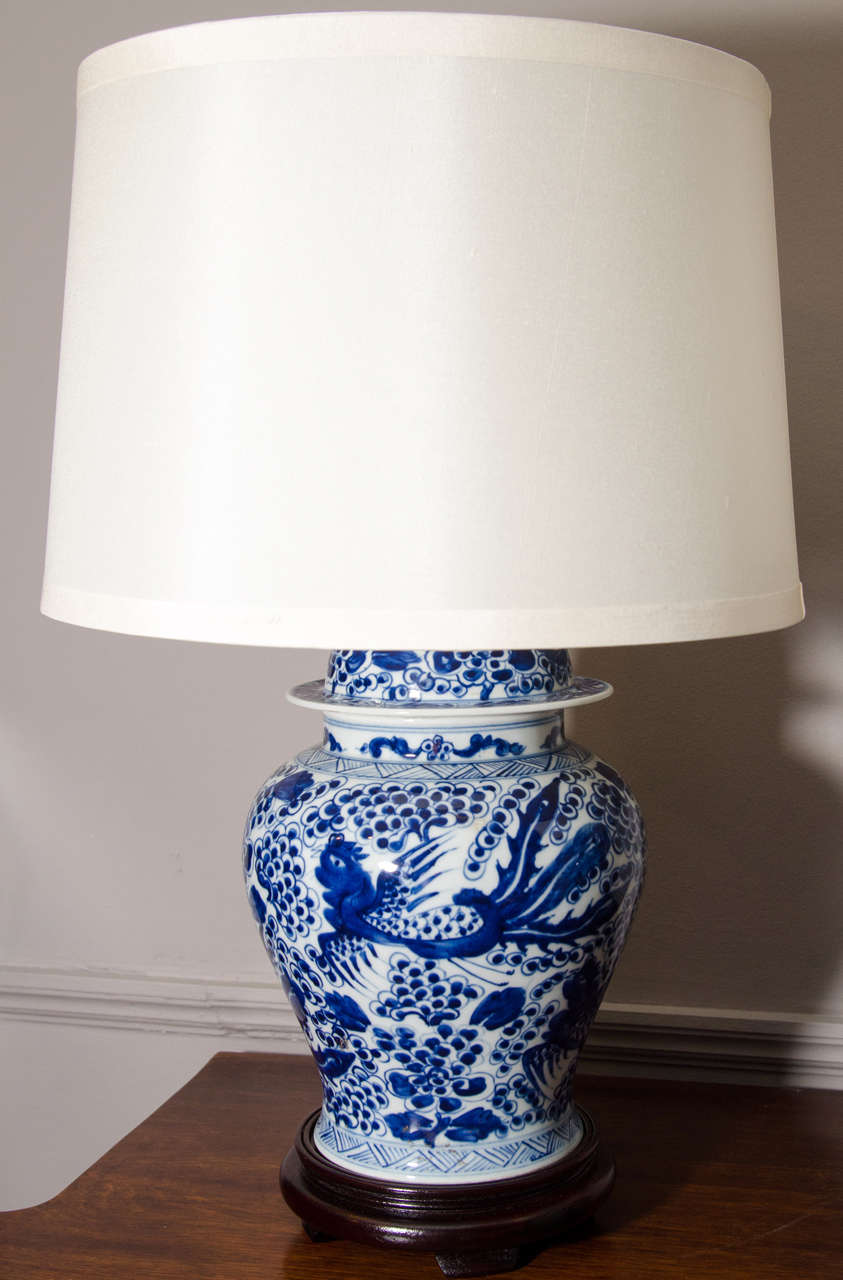 Porcelain Pair Of Blue And White Chinese Temple Jar Lamps For