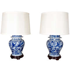 Pair of Blue and White Chinese Temple Jar Lamps