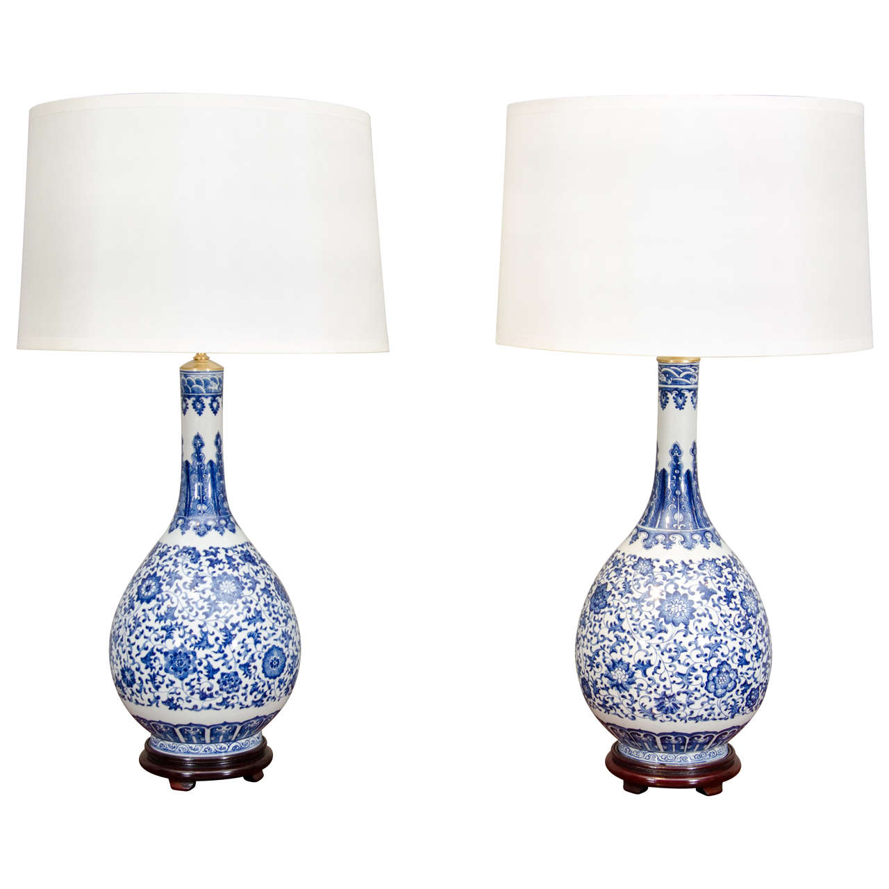 chinese blue and white porcelain lamps at 1stdibs. Black Bedroom Furniture Sets. Home Design Ideas
