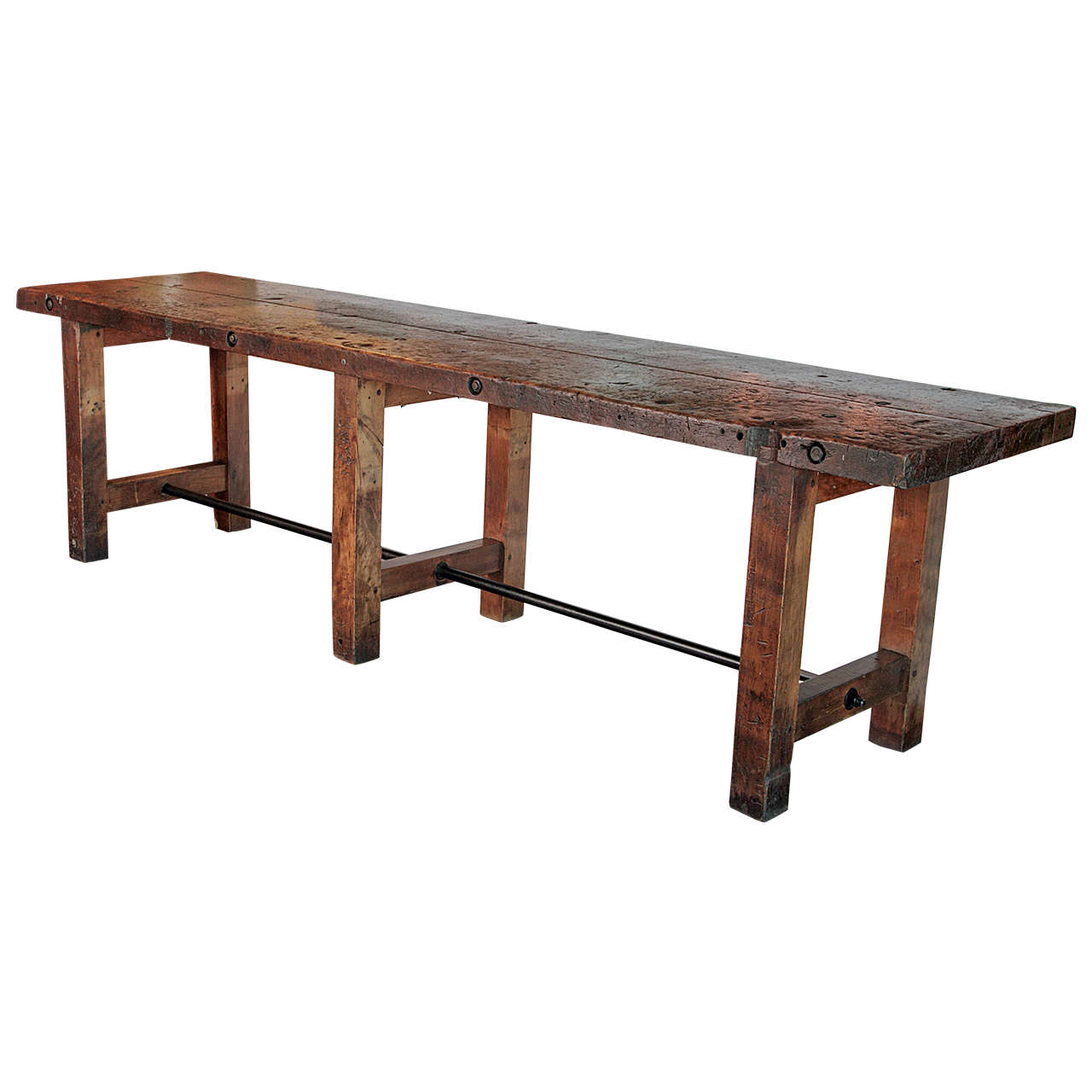 C.1920 French Oak Shop Table As Large Console Table 1