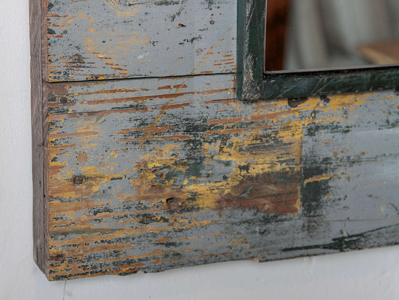 Antique Rustic French Large Mirror Frame In Good Condition For Sale In Dallas, TX