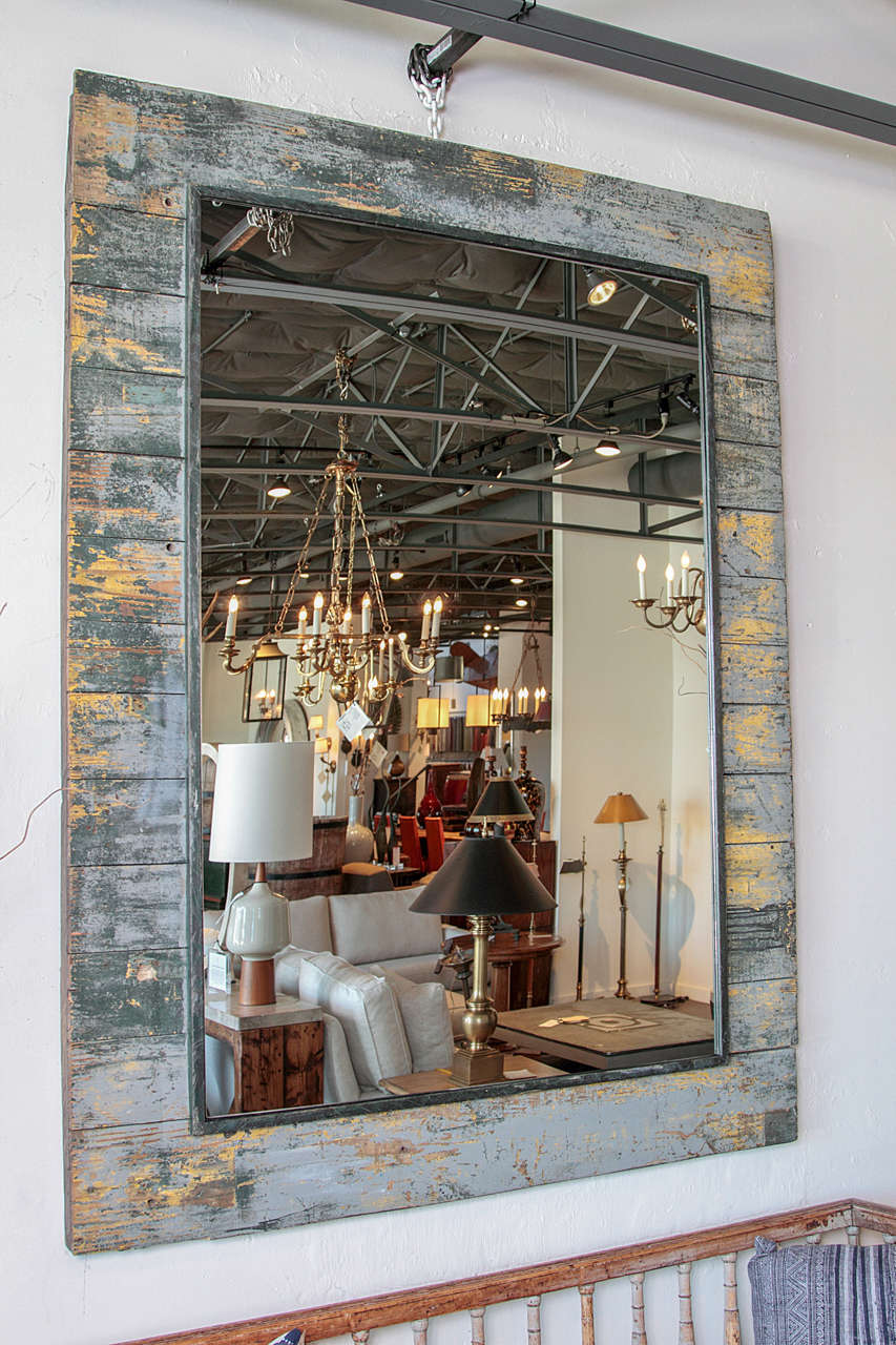 Antique Rustic French Large Mirror Frame For Sale 6