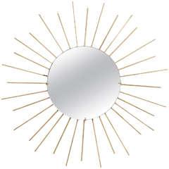 1960s Large French Brass Starburst Mirror