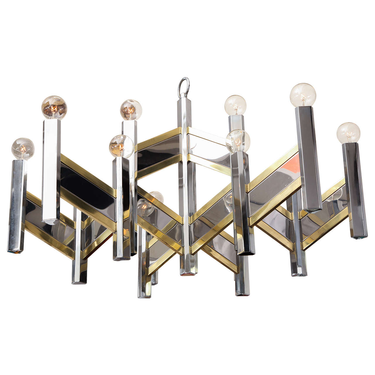 Italian 1960s Architectural Ceiling Fixture by Gaetano Sciolari For Sale