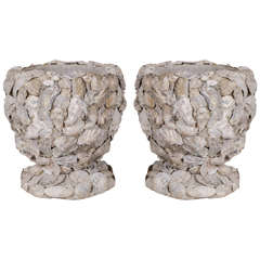 Pair of Shell-Covered Cache Pots