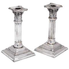 Edwardian Pair of Sterling Silver Corinthian Column Candlesticks