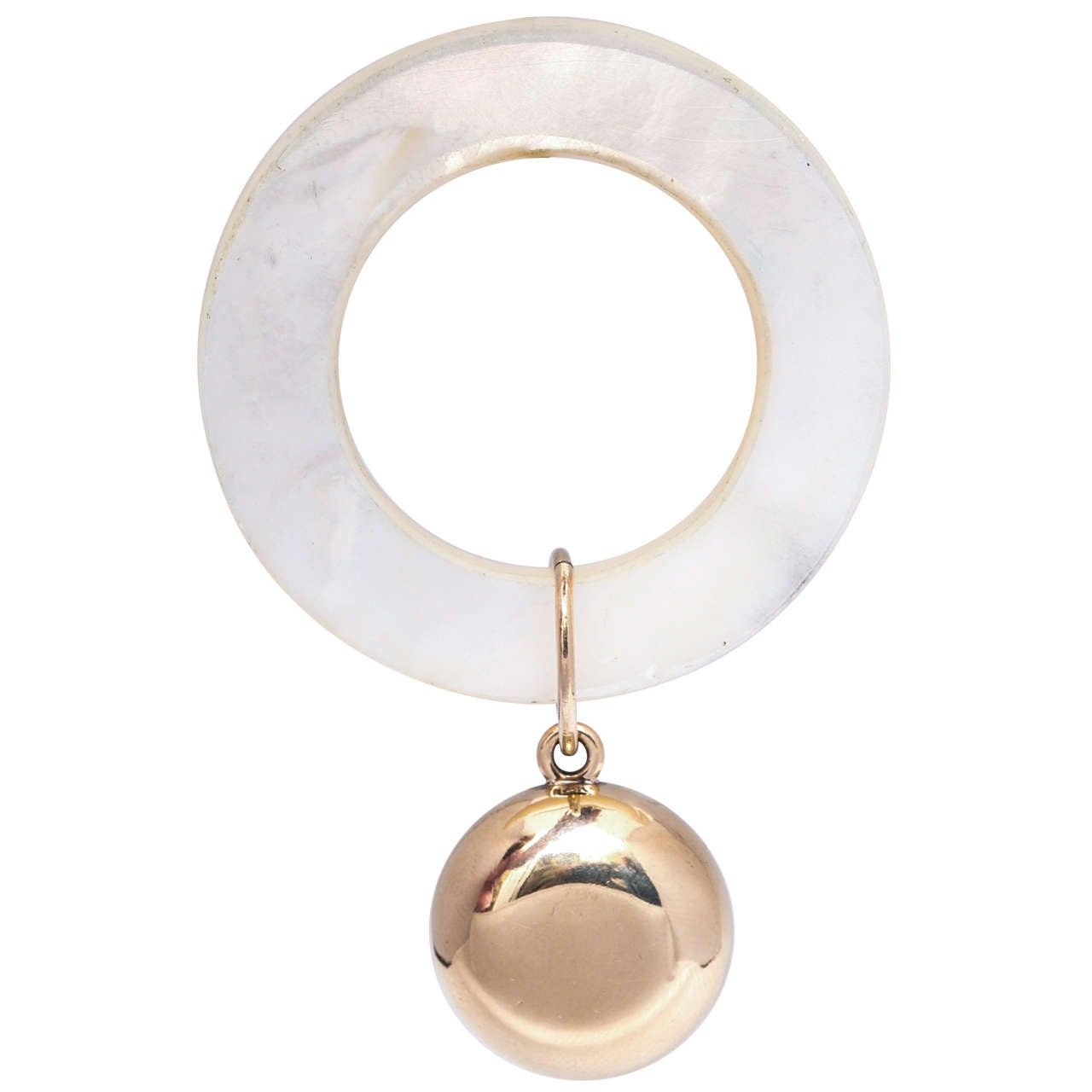Tiffany Edwardian 14 Karat Gold And Mother Of Pearl Baby