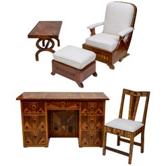 American Folk Art Marquetry Furniture, Suite of Five Pieces