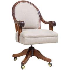 Late Victorian Walnut Desk Chair