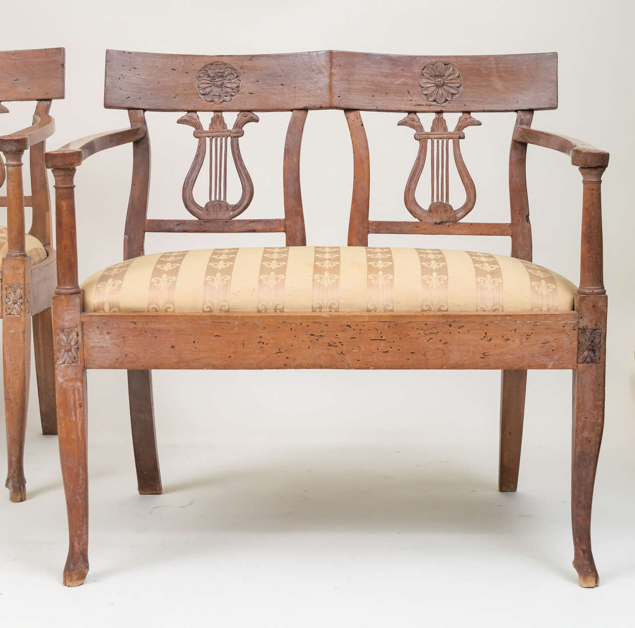 Late 18th Century Italian Neoclassic Walnut Benches, Pair 3