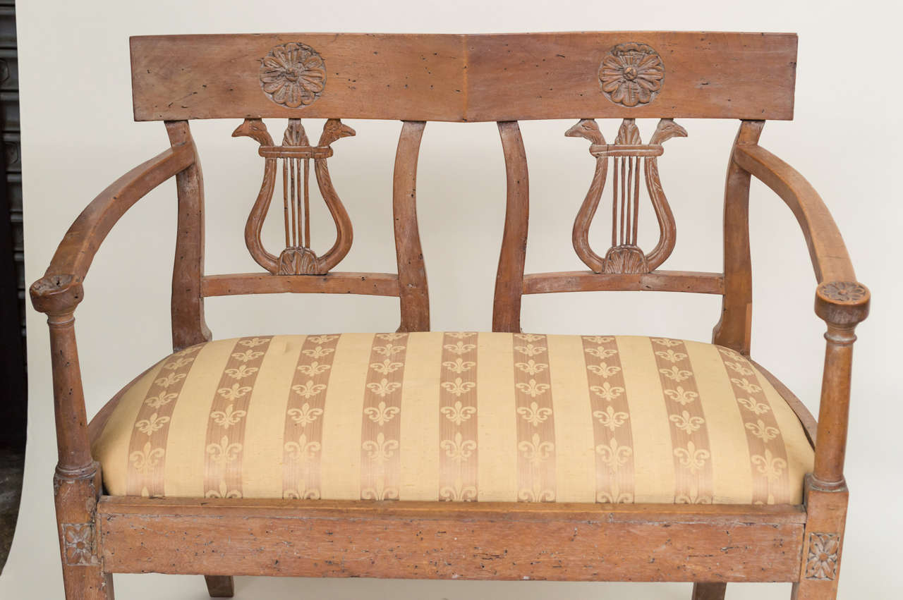 18th Century and Earlier Late 18th Century Italian Neoclassic Walnut Benches, Pair For Sale