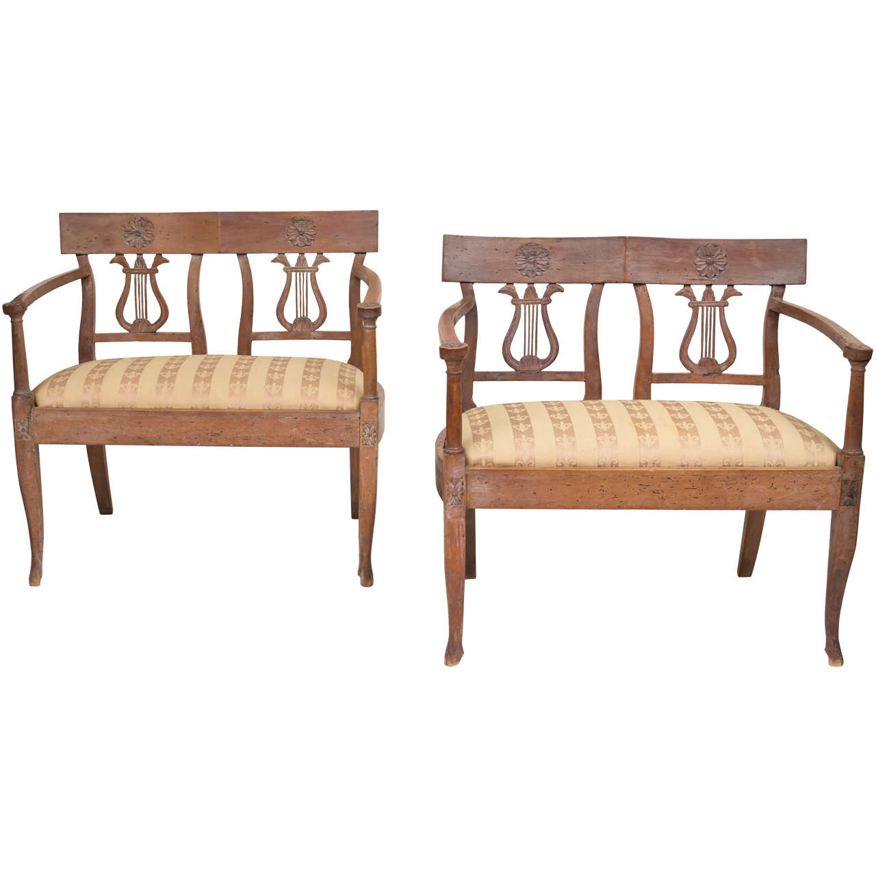 Late 18th Century Italian Neoclassic Walnut Benches, Pair For Sale