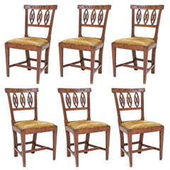 Set of Six Italian Neoclassic Period Side Chairs
