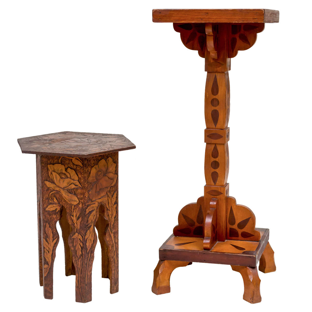 American Folk Art Marquetry Pedestal Table And Poppy Pyro Taboret, Set Of 2  1