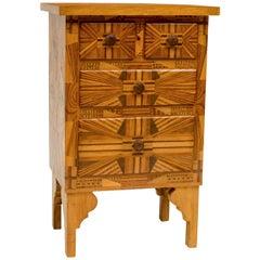 American Folk Art Three-Drawer Side Table
