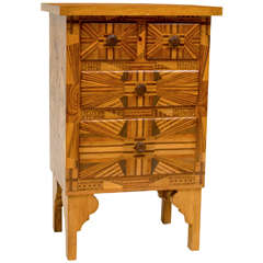 American Folk Art Three-Drawer Side Table