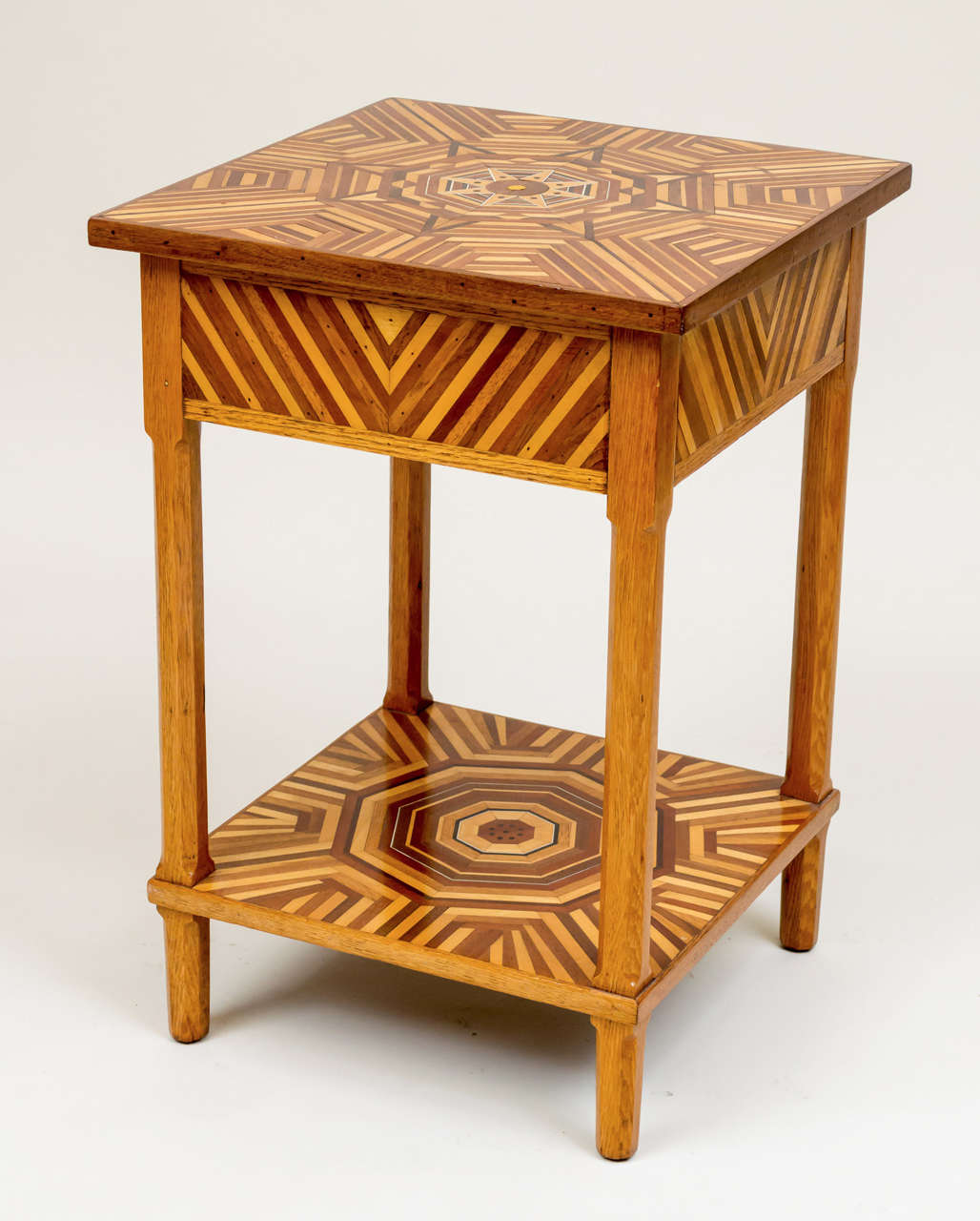 American folk art marquetry side table for sale at stdibs