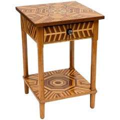 American Folk Art Marquetry Side Table