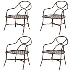 Mid-20th Century Bronze Cable Chairs