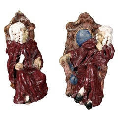 Susi Singer pair of terracotta figures,sculptures, signed.