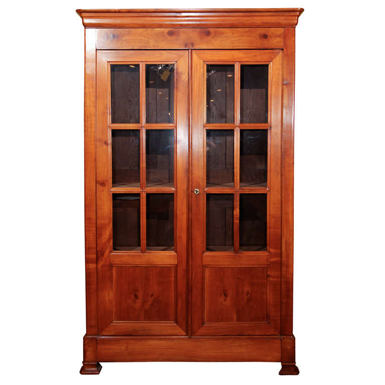 Louis Philippe Open Bookcase: French Louis Philippe Cherry Bookcase With Mullions At 1stdibs