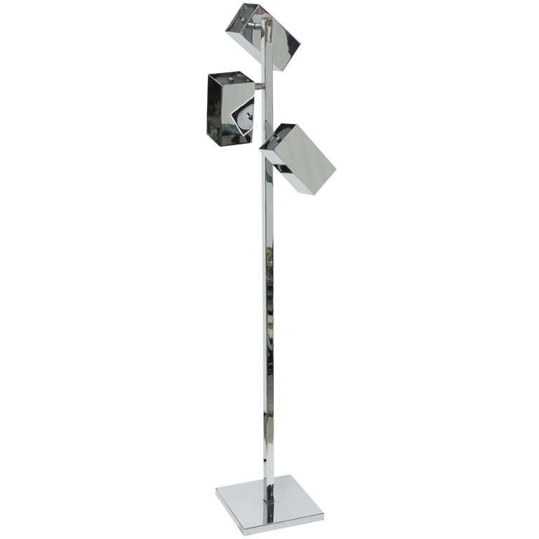 Floor Lamp, Chrome, 3 Heads, C 1960 For Sale