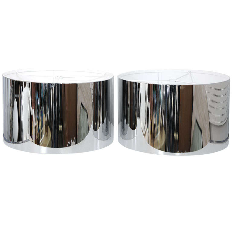 Pair of chrome lamp shades at 1stdibs pair of chrome lamp shades for sale aloadofball Gallery