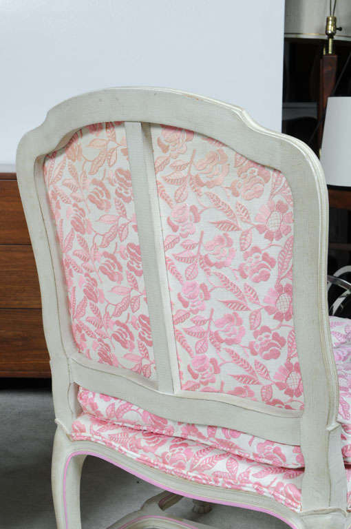 Pink And White Floral Slipper Side Chairs At 1stdibs