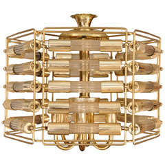 A Very Chic Brass and Glass Chandelier
