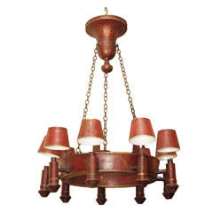 Exceptional Italian Red Tole 9 Light Chandelier