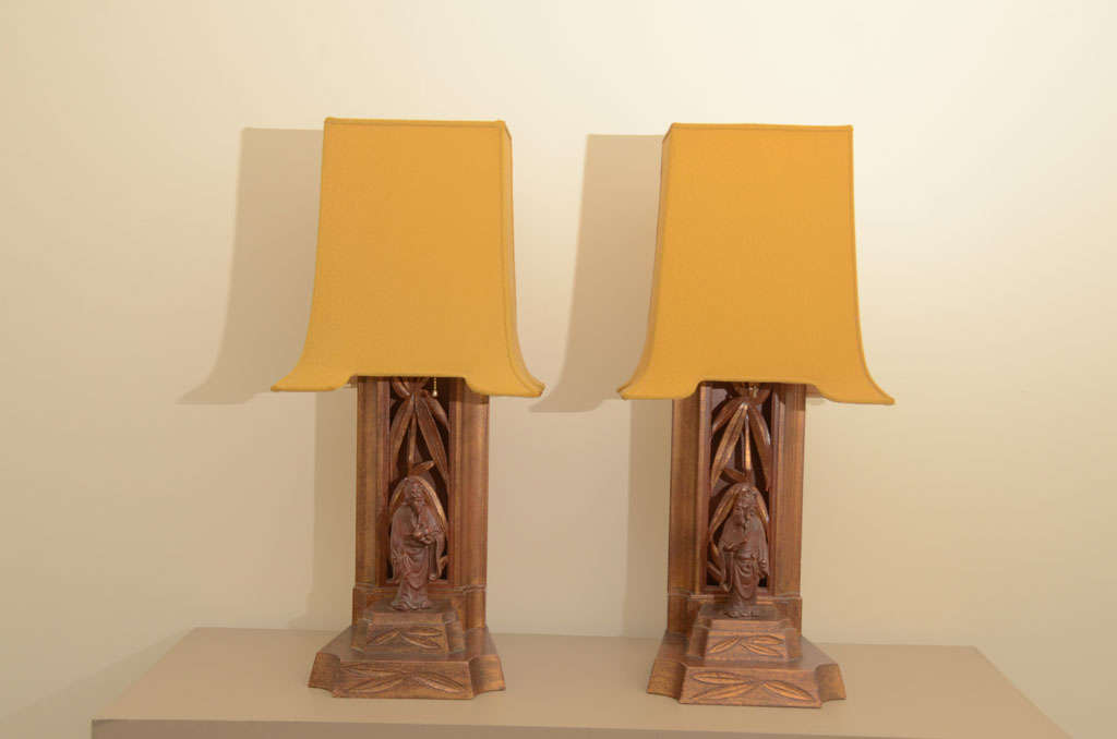 Pair Of Carved Bamboo And Figurine Lamps By James Mont 2