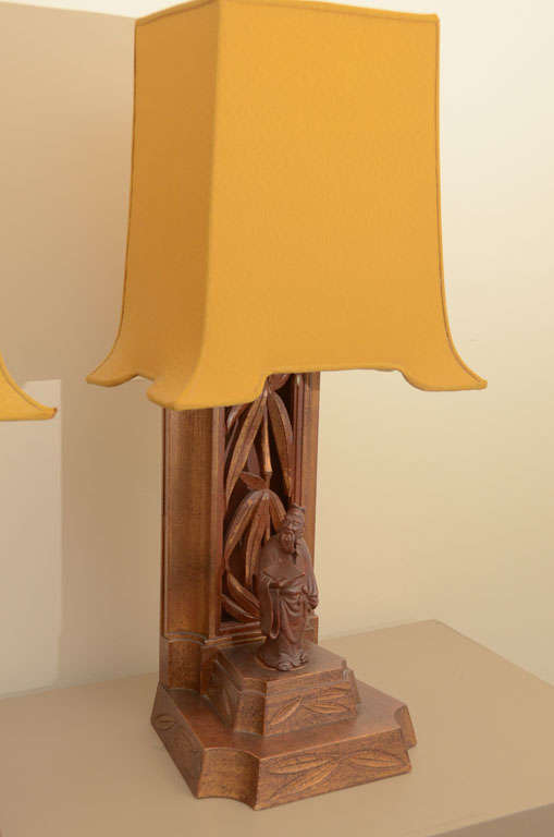 Pair Of Carved Bamboo And Figurine Lamps By James Mont 3