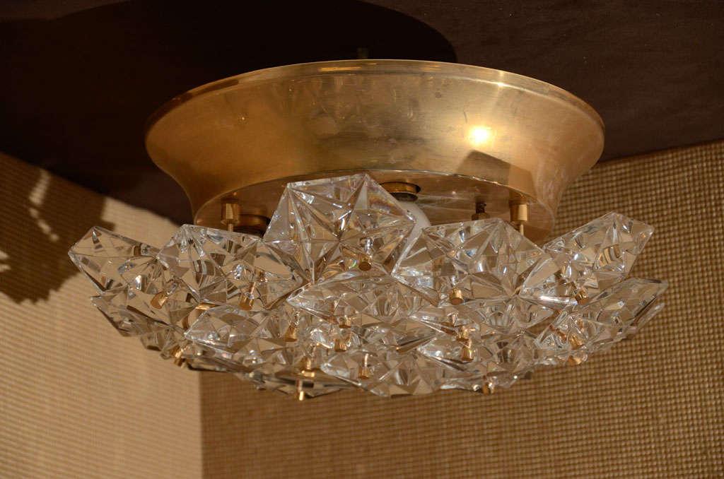 German Kinkeldey Faceted Crystal Prism Chandelier For Sale