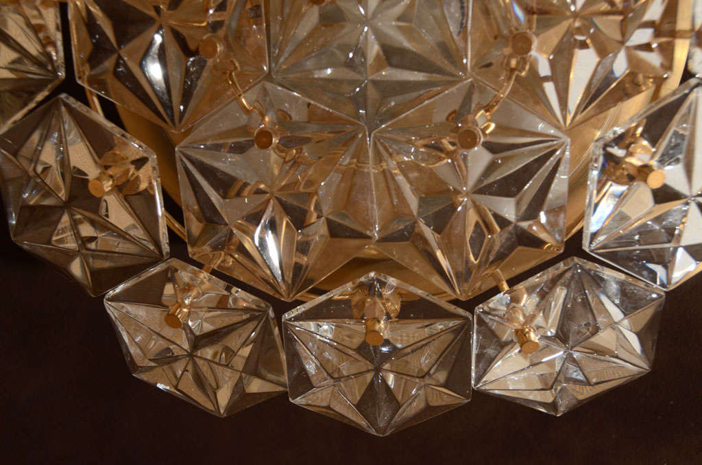 Kinkeldey Faceted Crystal Prism Chandelier In Excellent Condition For Sale In New York, NY